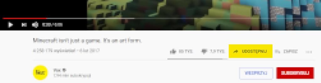"""Pod filmem na stronie YouTube znajduje się opcja """"Udostępnij""""."""