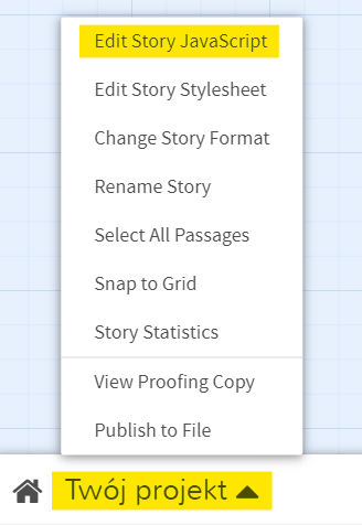 "Opcja: ""Twój projekt"" - ""Edit Story JavaScript"""