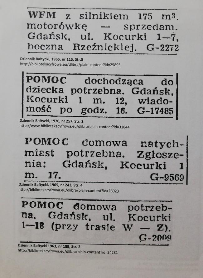 """Zdjęcie przedstawia archiwalne ogłoszenia z gazety. Tekst pierwszego ogłoszenia: """"WFM z silnikiem 175 m3 motorówkę – sprzedam. Gdańsk, ul. Kocurki 1-7, boczna Rzeźnickiej"""".  Tekst drugiego ogłoszenia: """"Pomoc dochodząca do dziecka potrzebna. Gdańsk, Kocurki 1 m. 12, wiadomość po godz. 16"""". Tekst trzeciego ogłoszenia: """"Pomoc domowa natychmiast potrzebna. Zgłoszenia: Gdańsk, Kocurki 1 m. 17"""". Tekst czwartego ogłoszenia: """"Pomoc domowa potrzebna. Gdańsk, ul. Kocurki 1-18""""."""
