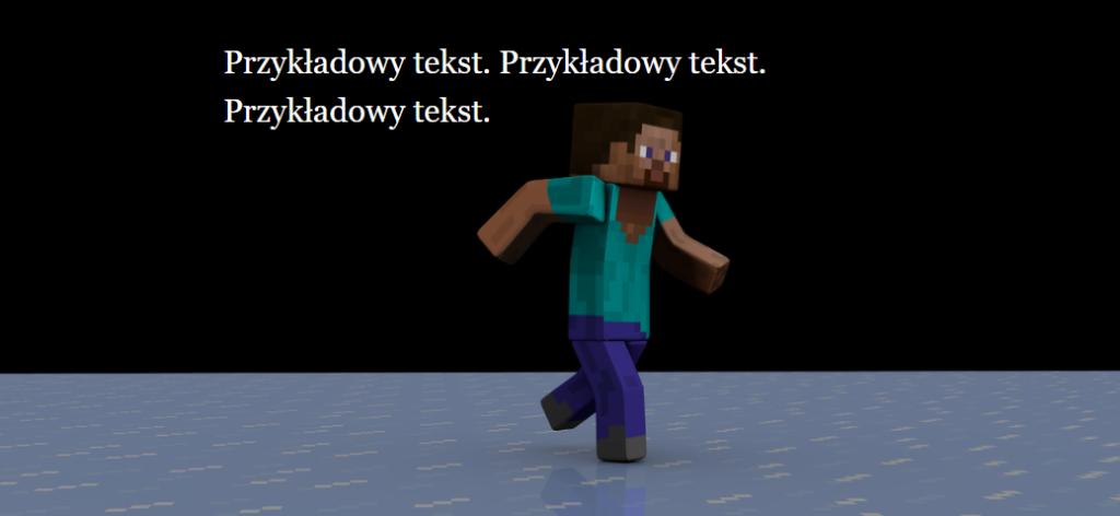 Rezultat: Biały tekst na tle postaci z gry Minecraft