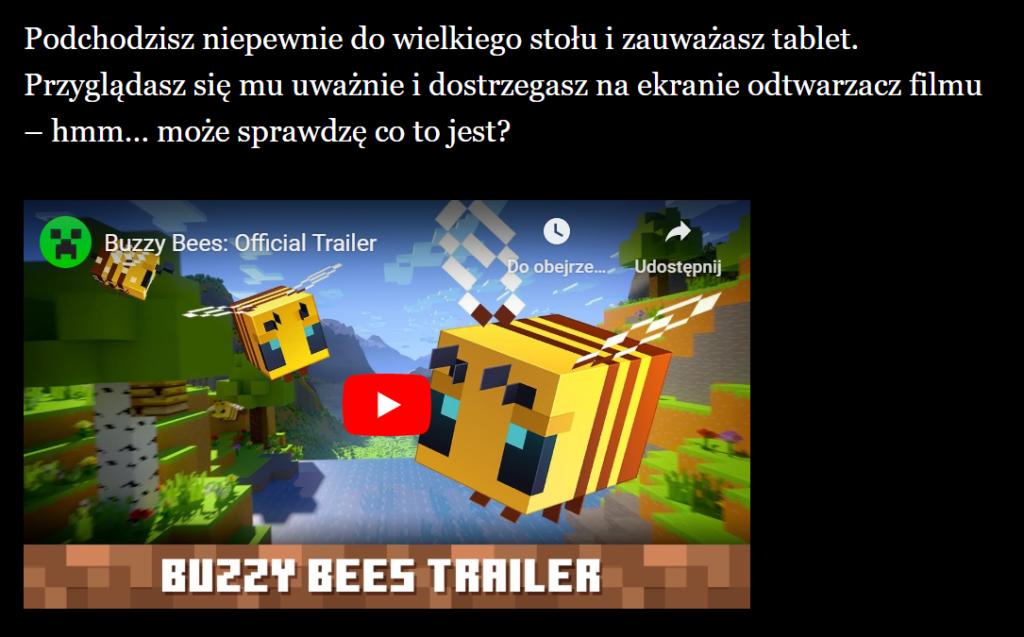 Tekst: Podchodzisz niepewnie do wielkiego stołu i zauważasz tablet. Przyglądasz się mu uważnie i dostrzegasz na ekranie odtwarzacz filmu – hmm… może sprawdzę co to jest? Wstawiony film z YouTube.