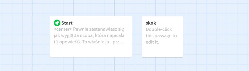 Twine - Widok z edytora. Pierwsza karteczka - start: <center> Pewnie zastanawiasz się jak wygląda osoba, która napisała tę opowieść. To właśnie ja - przyłapany podczas procesu twórczego. Druga karteczka: skok - zawiera obrazek. Karteczki nie są połączone ze sobą strzałeczką.