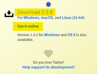 """W prawym górnym narożniku na stronie twinery.org znajduje się opcja z możliwością pobrania programu Twine na komputer – """"Download"""". Można również użyć programu w wersji """"on-line"""" korzystając jedynie z przeglądarki internetowej."""