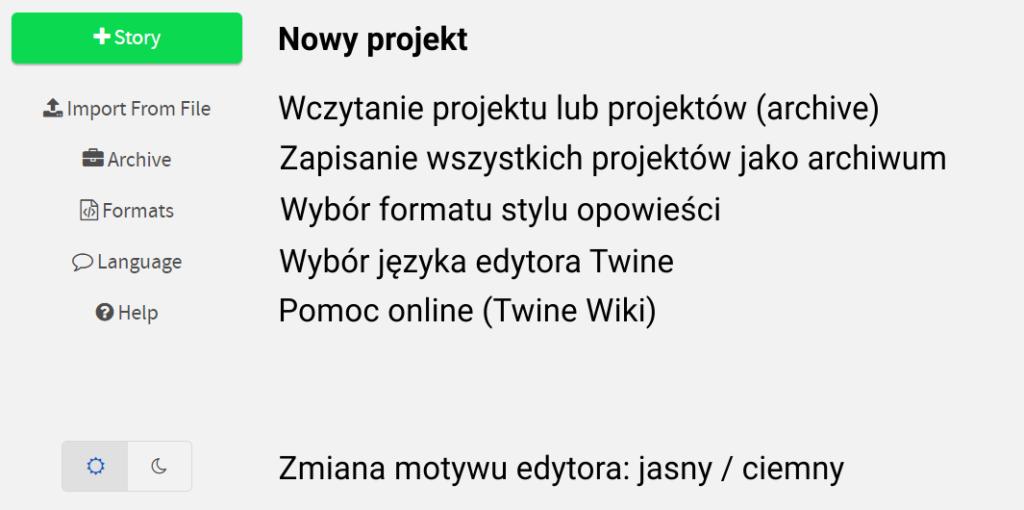 """Grafika prezentuje wybrany fragment aplikacji Twine (menu). Znajdują się tam opcje """"+Story"""" (nowy projekt), """"Import From File"""" (wczytywanie projektu lub projektów), """"Archive"""" (zapisywanie wszystkich projektów jako archiwum), """"Formats"""" (wybór formatu stylu opowieści), """"Language"""" (wybór języka edytora), """"Help"""" (pomoc – Twine Wiki) oraz przyciski z symbolem słońca i księżyca (zmiana motywu edytora: jasny i ciemny)."""