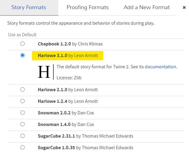 """Grafika prezentuje wybrany fragment aplikacji Twine (Story Formats). Style formatu kontrolują wygląd oraz funkcjonalności opowieści nieliniowej tworzonej w aplikacji Twine. Domyślnym stylem jest: """"Harlowe""""."""